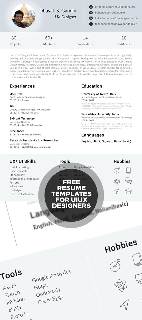 Free Resume Template for UI UX Designers Misc Pinterest Free - ui ux resume