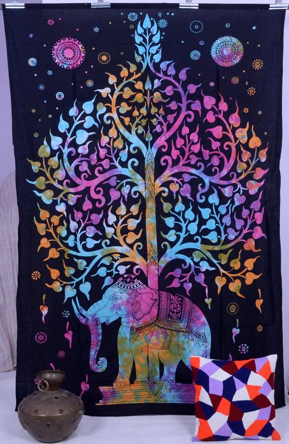 Elephant Tapestry Wall Hanging elephant tapestries , hippie gypsy tapestry , tree of life