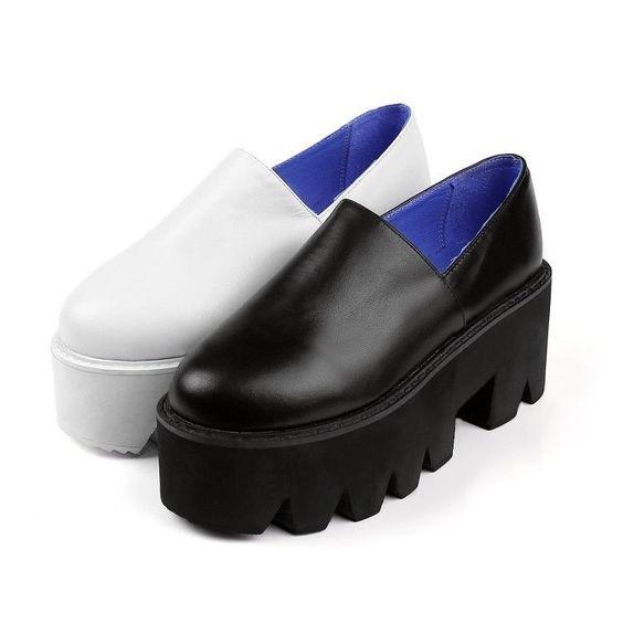 Fashion Womens Flat Round Toe Chunky Wedge Platform Kitten Heels
