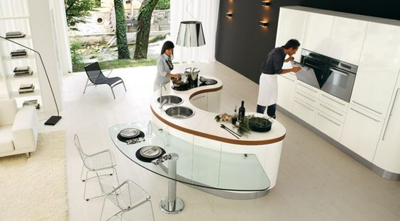 Modern Curved Kitchen Islands With Stools Contemporary Open Kitchen Design Glass Top Kitchen Table Glossy White Kitchen Cabinet