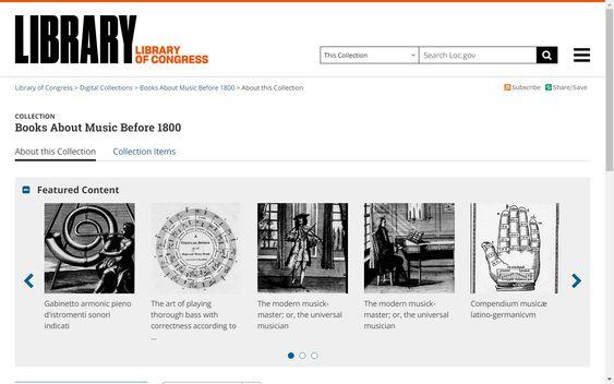 Colección gratuita de libros sobre música de antes de 1800