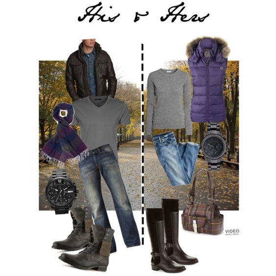 His & Hers (#2)  A winter look for him and her that compliments each other. :)  His - Dark brown jacket, dark grey t-shirt, faded jeans, combat boots, deep purple/grey plaid scarf, black watch. Hers - Grey long sleeve Cashmere shirt, purple fur lined down vest, blue jeans, dark brown riding boots, plaid purse, black boyfriend watch with rhinestones.