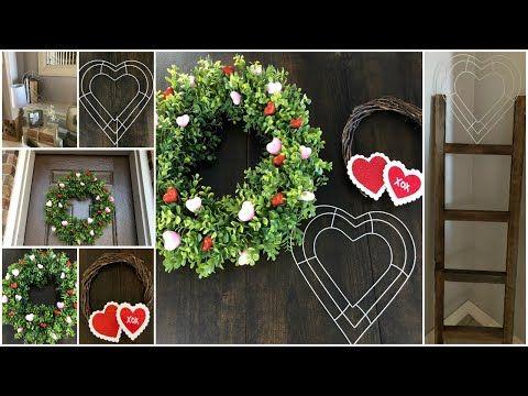 Dollar Tree Diy 3 Valentine S Day Wreath Farmhouse Youtube Valentine Decorations Valentine Day Wreaths Valentines Day Decorations