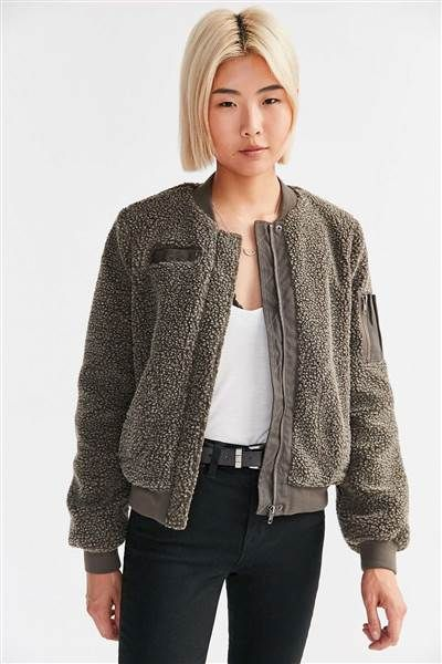 This bomber jacket from Urban Outfitters is so cozy. It will keep you warm all fall and winter long.