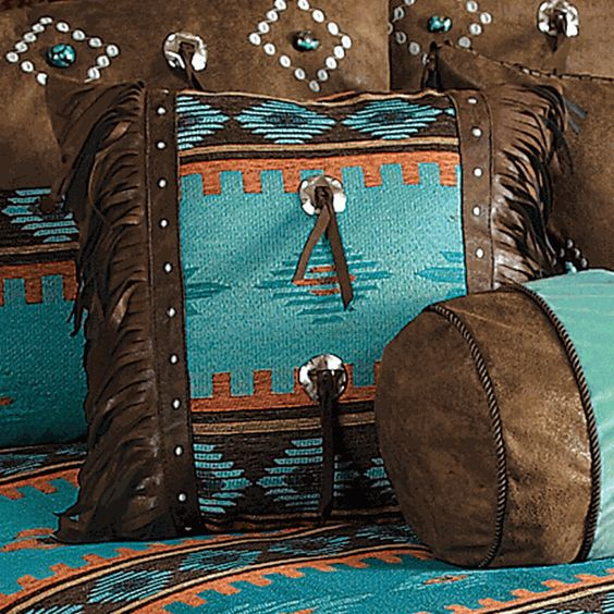 Skystone Turquoise Desert Fringed Pillow with Conchos