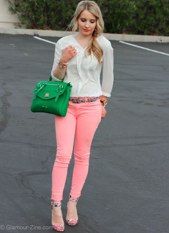 Just Fab Floral heels green handbag gap skimmer coral jeans_-7