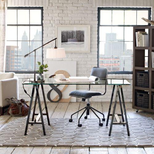 black white home office glass desk white painted brick walls black and white home office