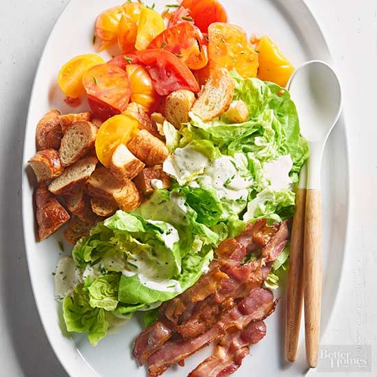 Deconstruct the BLT and swap the mayo for a tangy, creamy chive dressing and this BLT salad is what you get. If this salad recipe doesn't scream summer, nothing will./