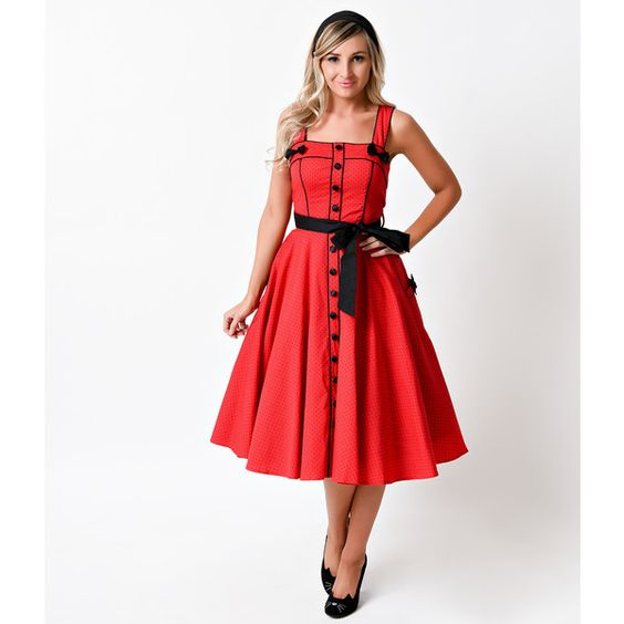 Hell Bunny Retro Pin-Up Red Dot Martie Swing Dress ($92) ❤ liked on Polyvore featuring dresses, red, white polka dot dress, button front dress, white swing dress, red dress and flared skirt