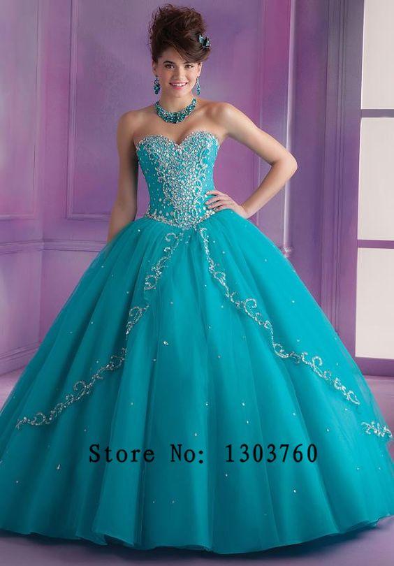 Barato Grátis cor jóia frisada corpete vestidos de azul Quinceanera vestidos…