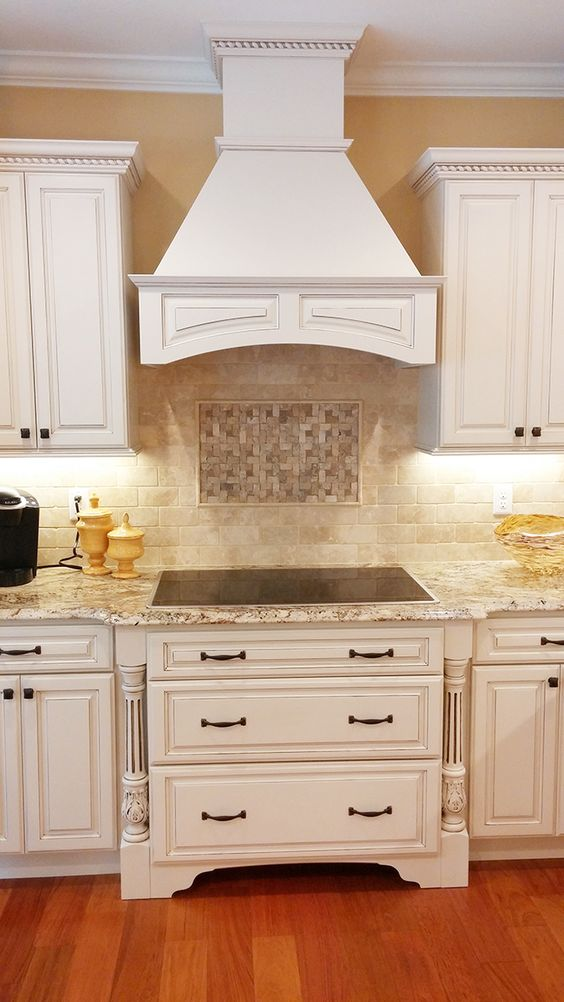 New construction kitchen in westport massachussetts - Off white cabinets with chocolate glaze ...