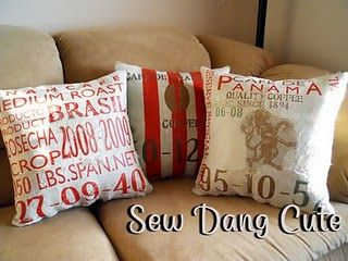Pottery Barn Burlap Cafe Pillows