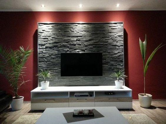 Steinwand Wohnzimmer Pinterest Steinwand, Gelassenheit und - wohnzimmer mit steinwand grau