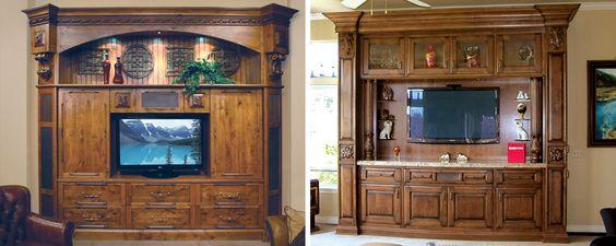 living / entertainment quaker style doors  rustic alder wood   nutmeg stain