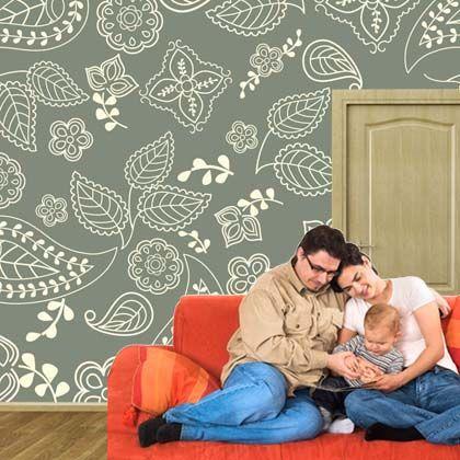 Custom printed wallpaper from www.customizedwalls.com. Peel. Stick. Remove. Fabric! - Idea para las baldas del despacho...