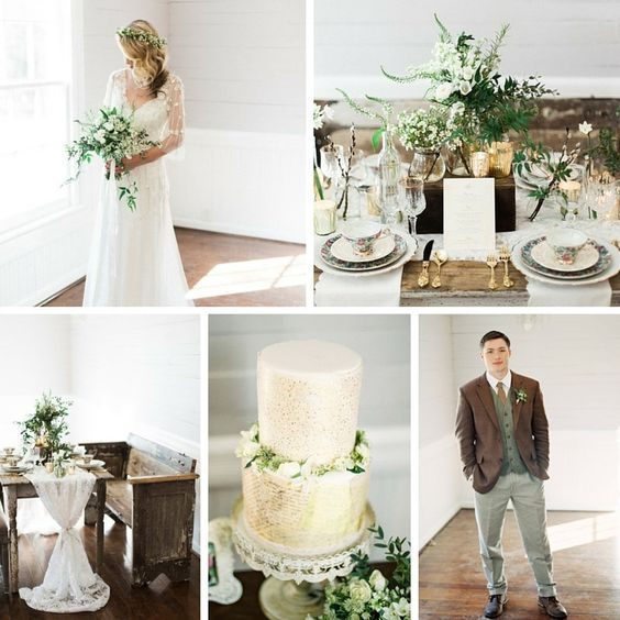 Elegant Winter Wedding Inspiration in a Chic Palette of Green, White & Gold