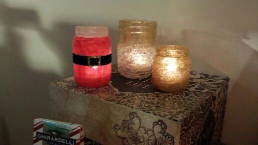 Mason jar and 2 baby food jars glitter and mod podge