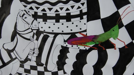 Indian ink and coloured ink  Grass hopper 3havo