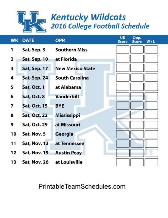 Kentucky Wildcats  Football Schedule 2016. Printable Schedule Here - http://printableteamschedules.com/collegefootball/kentuckywildcats.php