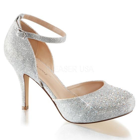 Silver 3 1/2 Inch Heel 1/2 Inch Hidden Platform Closed-Toe High