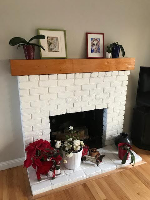 Rustic Natural Finish Over Brick Surround Reclaimed Wood Mantel