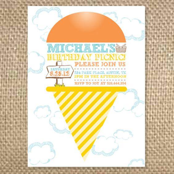 Super Cute Picnic Birthday Party Invitation Having A