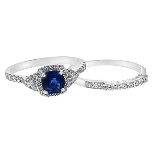 Sale Price 1275 Olivia Paris 14k Gold 1 Carat Cushion Blue Sapphire With 1 2 Ca With Images Wedding Ring Sets Cool Wedding Rings Aquamarine Engagement Ring White Gold