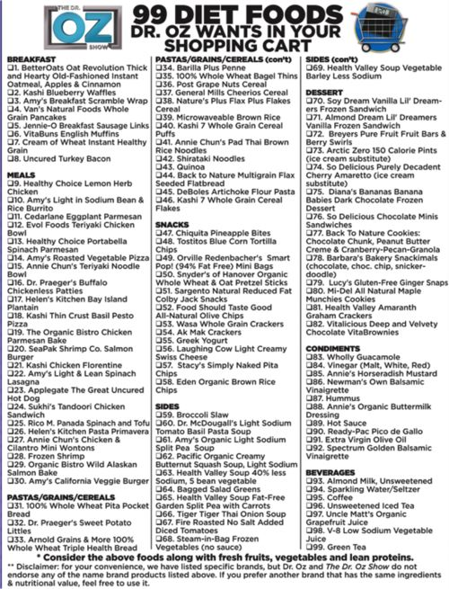 Dr Oz's 99 Diet Foods Shopping List