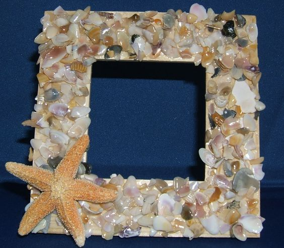 Seashell crafts seashell frame shell craft kit make for Shell craft ideas