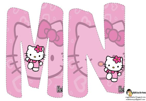 Alfabeto de Hello Kitty en fondo rosa. - Oh my Alfabetos!