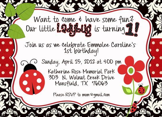 Little Ladybug Birthday Invitation by GreatGrabbieDesigns on Etsy, $13.00