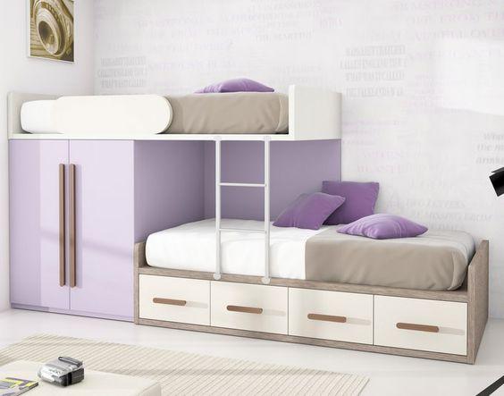 Cama tren con armario y contenedores camas altas - Camas dobles infantiles para espacios reducidos ...