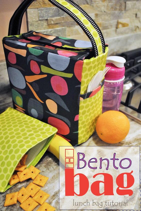 bento bag lunch and snack bag sewing tutorial sewing bits pinterest bento sewing. Black Bedroom Furniture Sets. Home Design Ideas