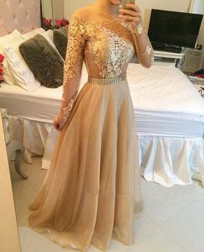 Long sleeve prom dress, gold prom dresses, lace prom dresses ...