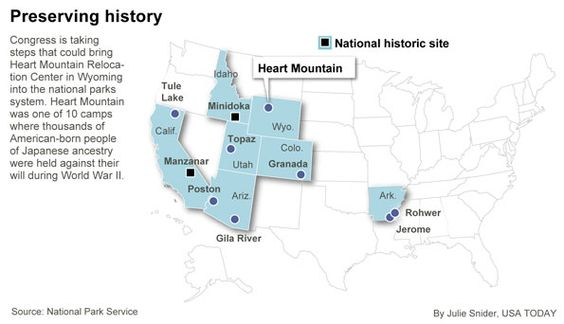Map Of Internment Camp Locations During WWII WWII Internment Of - Map of japanese internment camps in us