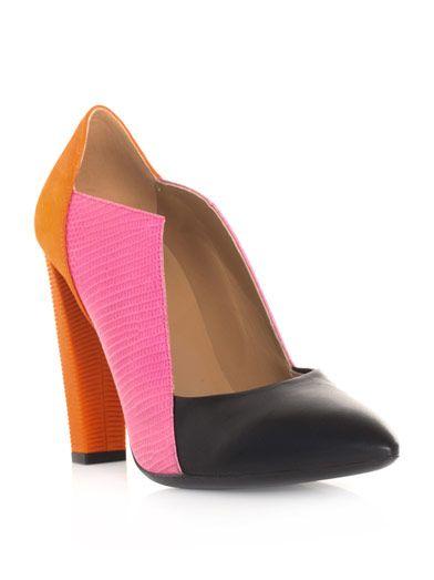 LOVE color-block shoes...and I this neat cut :: Balenciaga.