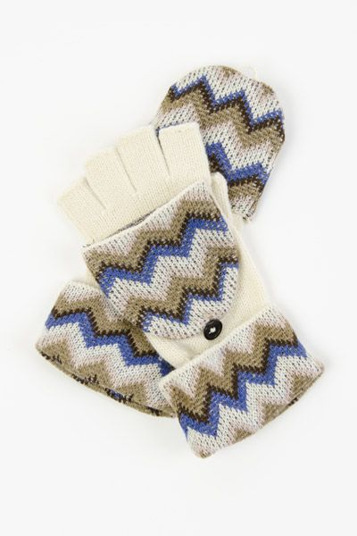 Chevron Print Fingerless Mittens $11.99