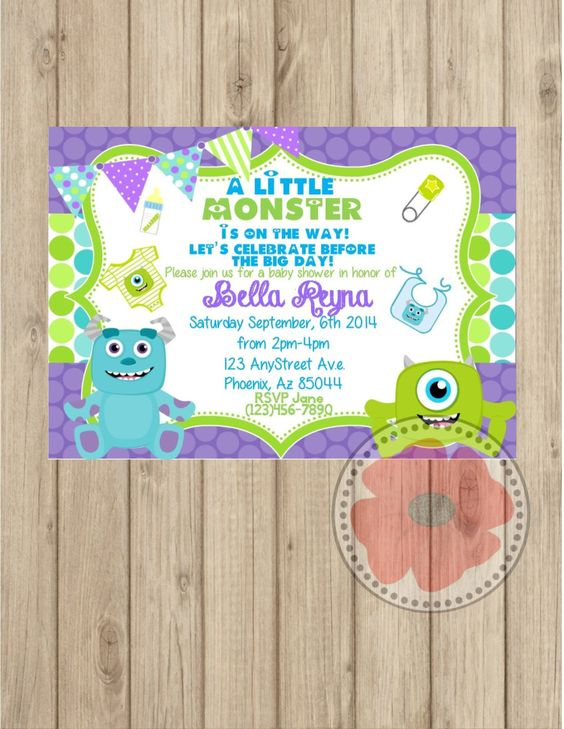 showers monster baby showers diy and crafts invitations monsters inc