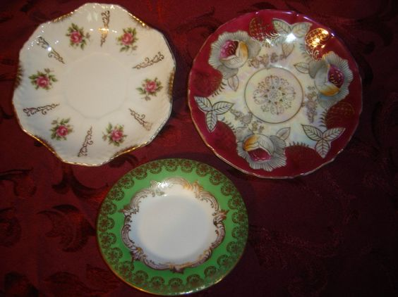 Set of 3 Beautiful Mismatched Tea Cup Saucers- Wall Decor Victorian Shabby Chic. $12.00, via Etsy.