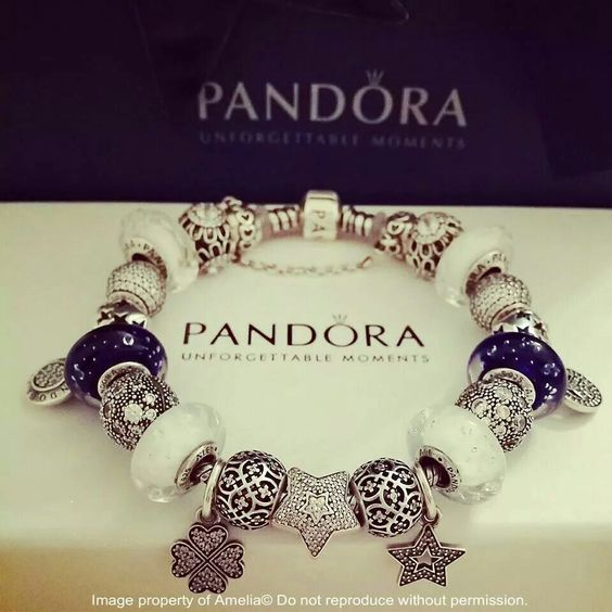 Bracelet Pandora Stars Etoiles Argent Silver Blue Bleu Blanc White Bijoux et charms à retrouver sur