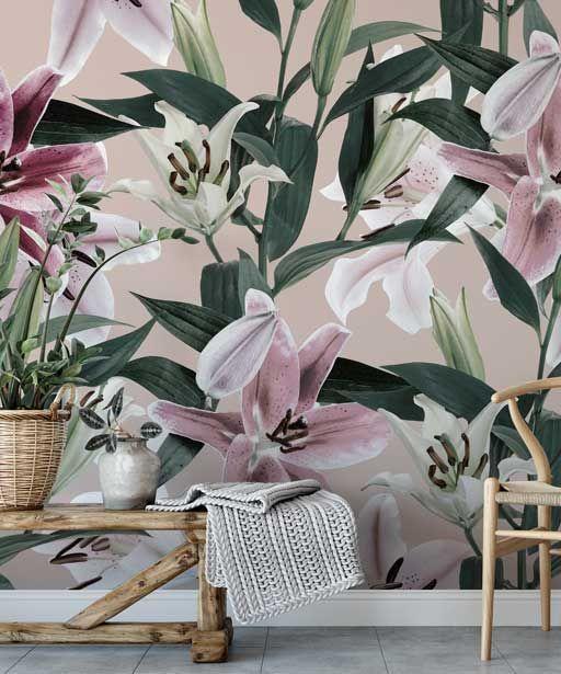Tapeta W Duze Kwiaty Na Pudrowym Tle Lilie Wallpaper Pattern With Lilies Plants