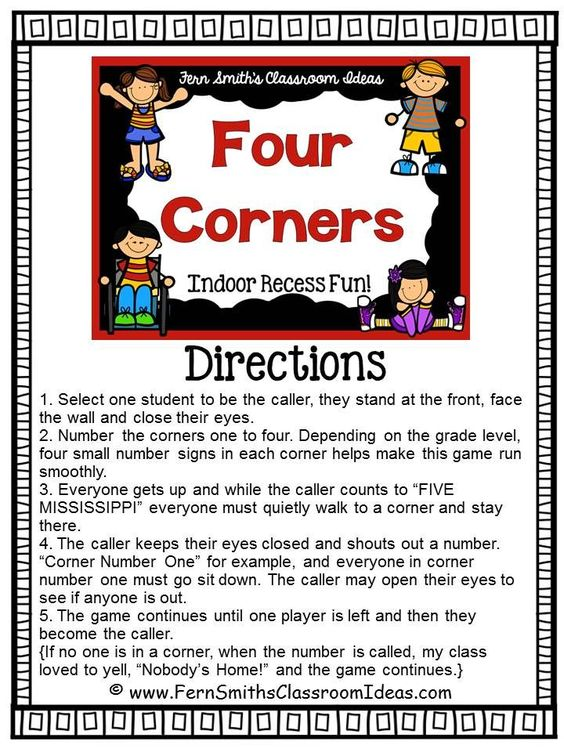 Ready for Indoor Recess? Need a Brain Break? Pin now and save this post for later! #Free Four Corners Printable Directions #FREEBIE