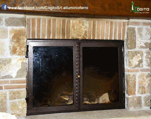 Sportello per #camino in #ferro e #vetro ceramico. #fireplace ...