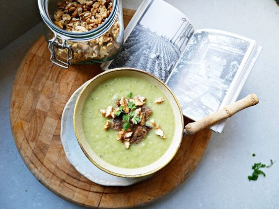 Celery Soup with Walnuts and Rye Croutons