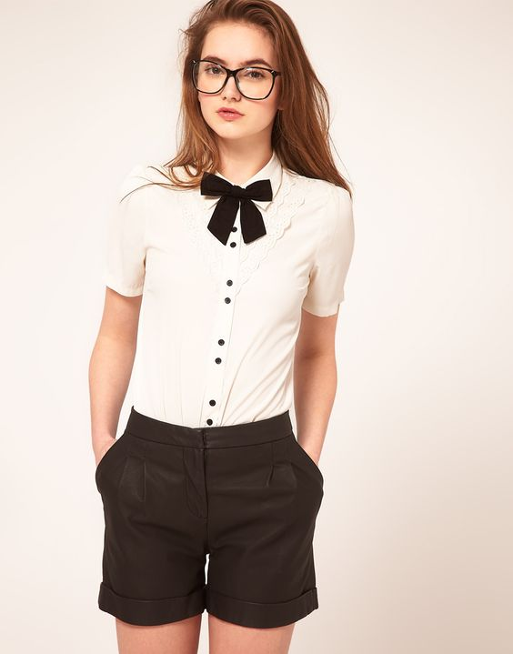blouse w/ broderie anglaise & bow ++ asos
