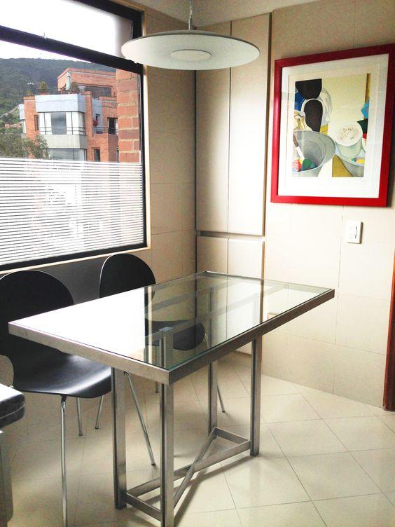 mesa comedor auxiliar acero y vidrio diseo pilar villalon estudio de diseo mesa de estudio de diseo