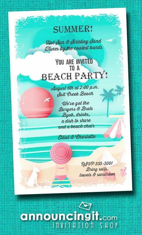 View On The Beach Party Invitations With Images Beach Party