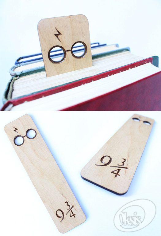 Signet en bois du signet, plateforme 9 3/4, Harry Potter, signet, cadeau, découpe Laser, Laser gravé