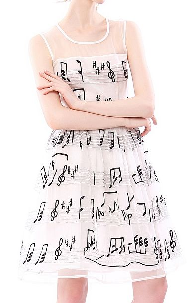 Perfect Party Dress! So CUTE! Black and White Embroidered Musical Notes A-line Elegant Silk Sleeveless Summer Dress #Black_and_White #Fun #Festive #Cute #Party_Dress #Ideas #Summer #Music #Musical_Notes #Fabric #Fashion: