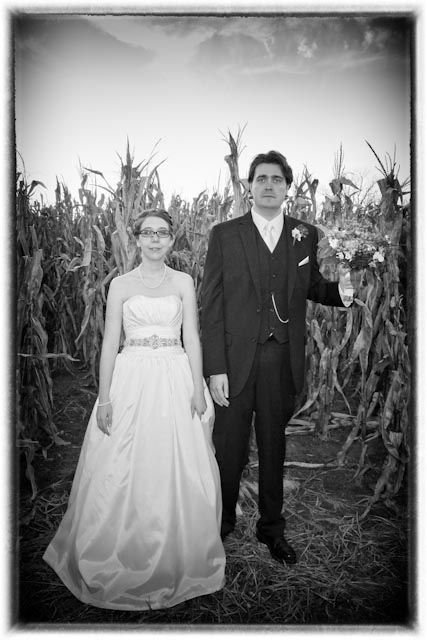 How many wedding venues have corn?  Niederman Family Farm does!  Had to do our spin on American Gothic.